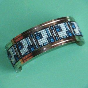 cross stitched silvertone cuff boxy blue geometric design - vintage jewelry