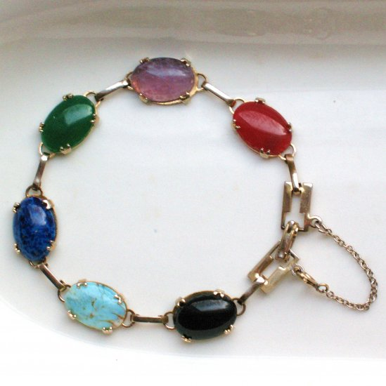 multicolored glass cabochon link bracelet - vintage jewelry