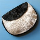 shimmering pearly white & black beaded vintage bag with wee matching coin purse hyland france