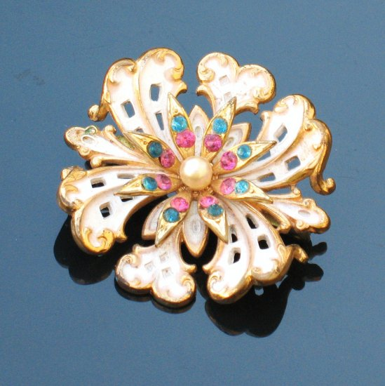 colored rhinestone white enamel goldtone brooch - vintage jewelry