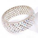 Swarovski Crystal Clear & AB Wide Lucite Bangle Bracelet