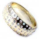 4 Row Swarovski Crystal Rhinestone Metallic Gold Acrylic Bangle Bracelet
