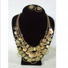 Gold Copper  Rings Circles Disc Dots Swag Bib Necklace Earrings Set Prom Bridal