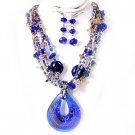 Multi Strand Crystal Cobalt Blue Foil Glass Murano Pendant Necklace Set