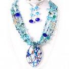 Multi Strand Silver Cobalt Teal Blue Gold Dot Drizzle Foil Glass Murano Pendant Necklace Set
