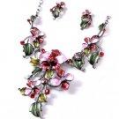 Swarovski Crystal Rhinestone Pink  Floral Enamel Statement Necklace Set Bridal Prom