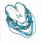 Murano Turquoise Stone Shell & Lucite Multi-Strand Layered Necklace Earring Set
