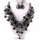 Black Hoop Ring Crystal Fringe Bib Necklace Earring Set Bridal  Prom