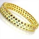 3 Row Swarovski Crystal Rhinestone Yellow Acrylic Bangle Bracelet