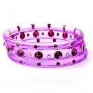 3 Purple Swarovski Crystal Rhinestone Lucite Red Hat Bangle Bracelet Set