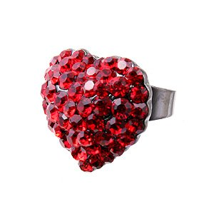 4f089804f7311 Swarovski Crystal Rhinestone Chunky Puffy Large Red Heart Adjustable ...
