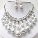 Pearl White Lucite Balls Baubles Bib Necklace Earring Set  Prom Bridal