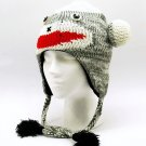 Adult Kids Child Childrens Sock Monkey Flap Hat One Size Warm Winter Fleece Lined