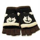 Kids Child Childrens Black Bear Flip Mitten Gloves One Size
