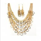 Elegant Gold Multi Chain Heart Charm Swag Necklace Set Valentine Prom Bridal