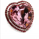 Huge Gaudy Crystal Rhinestone Chunky Puffy Adjustable Large Pink Heart Ring