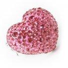 Australian Crystal Rhinestone Chunky Puffy Adjustable Stretch Large Pink Heart Ring Prom
