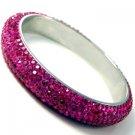 Glamorous Couture Hot Fushia Pink Couture Swarovski Crystal Rhinestone Rhodium Plate Bangle Bracelet