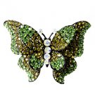 Huge Gaudy Chunky Green Swarovski Crystal Stretch  Butterfly Ring