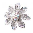 Huge Gaudy Chunky Clear AB Swarovski Crystal Adjustable Flower Ring B