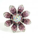 Huge Gaudy Chunky  Purple Swarovski Crystal Adjustable Flower Ring B