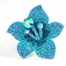 Huge Gaudy Chunky Blue Swarovski Crystal Adjustable Lily Flower Ring B