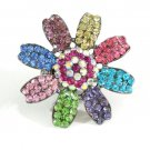 Huge Gaudy Chunky Multi Swarovski Crystal Adjustable Flower Ring G