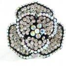 Huge Gaudy Chunky Clear AB Swarovski Crystal Adjustable Flower Ring G
