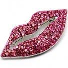 Gaudy Swarovski Crystal Rhinestone Hot Juicy Pink Lips Mouth Pin Brooch