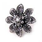 Huge Gaudy Chunky Black Hematite Swarovski Crystal Adjustable Flower Ring B