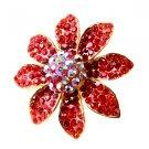 Huge Gaudy Chunky Red AB Swarovski Crystal Adjustable Flower Ring B