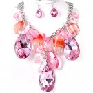 Chunky Pink Crystal Ice & Acrylic Tear Drop Teardrop Baubles Bib Necklace Earring Set  Prom Bridal