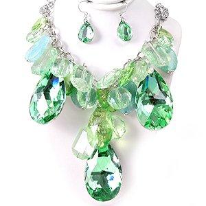 Chunky Green Crystal Ice & Acrylic Tear Drop Teardrop Baubles Bib Necklace Earring Set  Prom Bridal