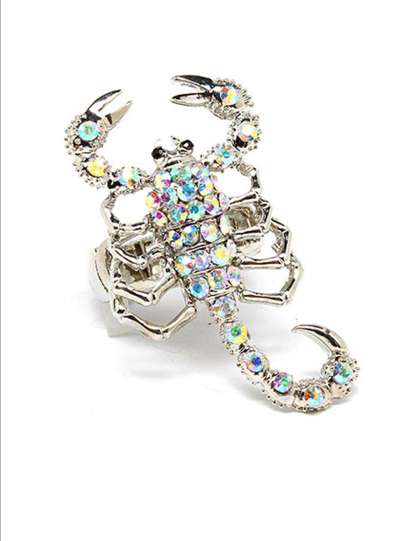 Huge AB Aurora Borealis Austrian Crystal Rhinestone  Adjustable Stretch Chunky Large Scorpion Ring
