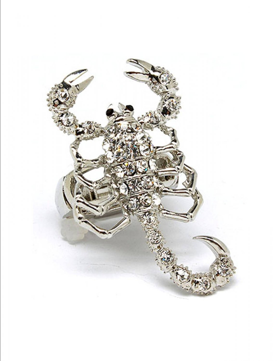 Huge Clear Austrian Crystal Rhinestone  Adjustable Stretch Chunky Large Scorpion Ring