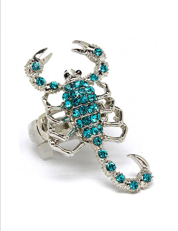 Huge Chunky Blue Austrian Crystal Rhinestone  Adjustable Stretch Large Scorpion Ring