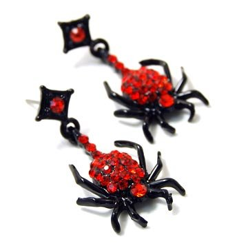 Creepy Halloween Goth Black Red Gothic Spider Austrian Crystal Rhinestone Earrings