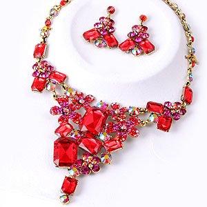 Chunky Crystal Red AB Rhinestone Bib Statement Necklace Earrings Bridal Prom