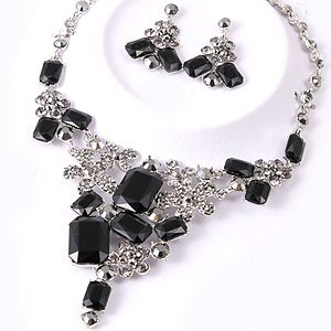 Chunky Hematite Black Crystal  Rhinestone Bib Statement Necklace Earrings Bridal Prom