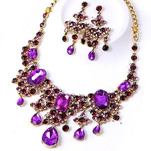 Chunky Crystal Purple Acrylic Rhinestone Statement  Bib Necklace Earring Set Bridal Prom