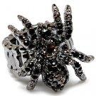 Creepy Halloween Goth Black Austrian Crystal Rhinestone Gothic Spider Stretch Ring