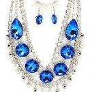 Chunky  Blue  Huge Austrian Crystal Ice & Acrylic  Statement Bib Necklace Earring Set  Prom Bridal