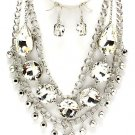 Chunky  Clear Huge Austrian Crystal Ice & Acrylic  Statement Bib Necklace Earring Set  Prom Bridal