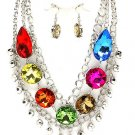 Chunky  Multi Huge Austrian Crystal Ice & Acrylic  Statement Bib Necklace Earring Set  Prom Bridal