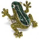 Huge Swarovski Crystal Rhinestone Adjustable Stretch Large Green Frog Ring