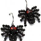 Creepy Halloween Goth Black Austrian Crystal Rhinestone Gothic Spider Earrings