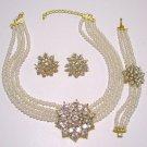Off white Pearl & Rhinestone Starburst Pendant Necklace Earring Bracelet Set Parure  Prom Bridal