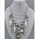 Chunky Hematite Gray Crystal Ice Tear Drop Baubles Bib Necklace Earring Set  Prom Bridal
