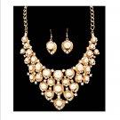 Chunky Off white Cream Pearl & Crystal Rhinestone Bib Necklace Earring Set Prom Bridal Runway