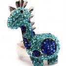 Huge Blue Gaudy Chunky Swarovski Giraffe Adjustable Stretch Ring